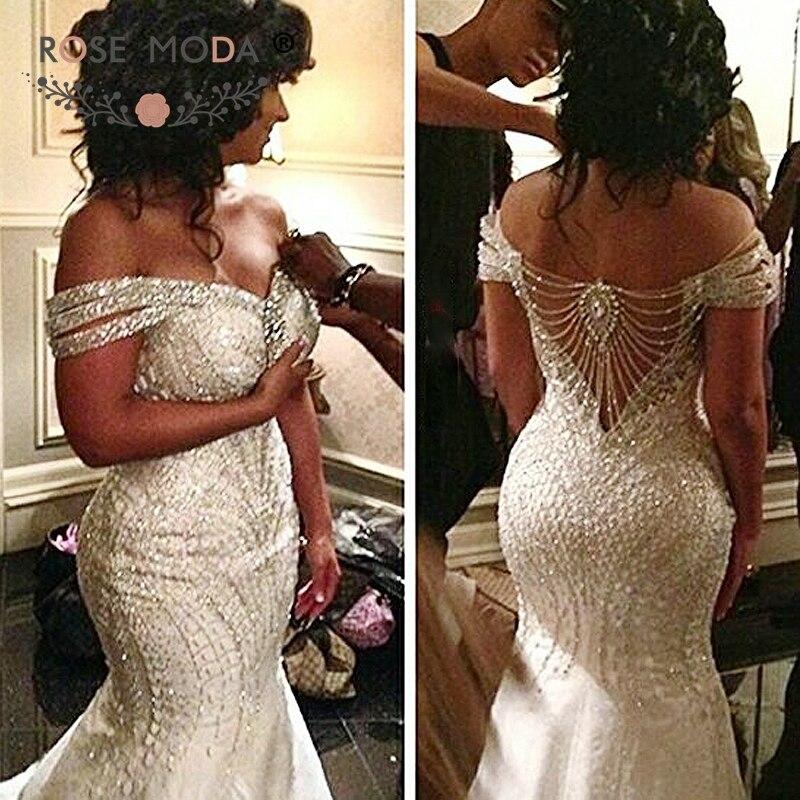 ローズモーダ高級オフショルダー人魚のウェディングドレス 2019 クリスタルホワイトブライダルドレス  グループ上の ウェディング & イベント からの ウェディングドレス の中 1