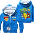 Winter POKEMON GO Casual Children Kids Boys Jackets Coat Full Sleeve Teenager Girl Coat with Hooded Thick Clothing 4-11Y Old
