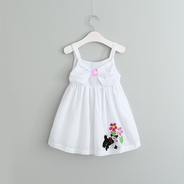 cd9bca567 Baby Girls White Cotton Summer Dress Cartoon Embroidered Cute Bow ...