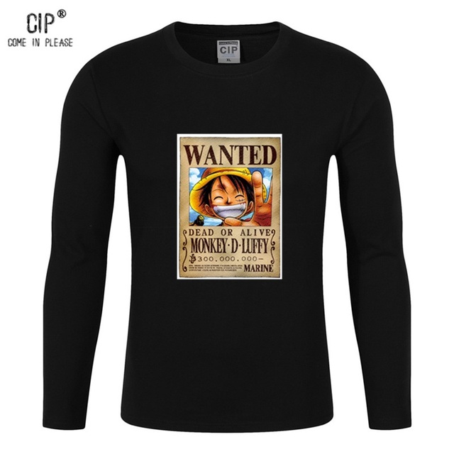 CIP 100% Cotton Anime One Piece T shirt Luffy Funny Wanted Monkey D Luffy T Shirts Tshirt Clothing Autumn Mens Anime Tee Shirt