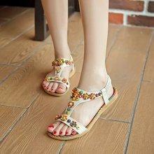 handmade beaded sandals 2016 summer bohemia national style flat heel female shoes flip-flop open toe