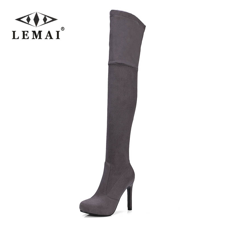 LEMAI Women Boots Long Autumn Winter Thigh High Boots Lace Up Over The Knee Boots Ladies Platform High Heels Big Size 43