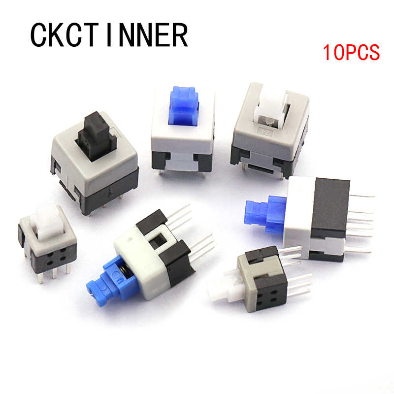 10 unids/lote 5,8*5,8 7*7 8*8 8,5*8,5mm auto bloqueo Push tactil Power Micro Switch Kit 6 Pin interruptores de botón