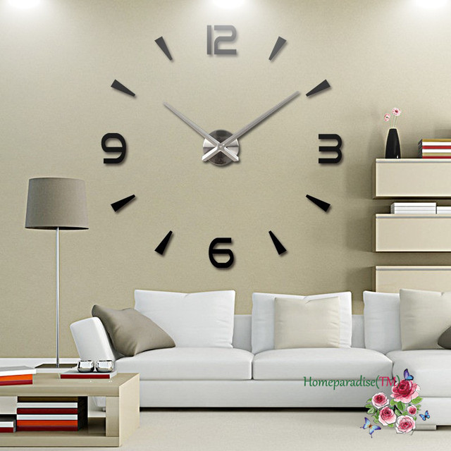 25 40 Arabic Numbers Arrows Large Hands Mirror Wall Clock Oversized Living
