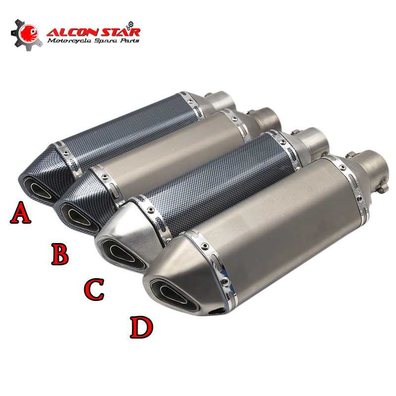 Alconstar- Universal Modified Akrapovic Motorcycle Exhaust Muffler with DB Killer Dirt Street Bike Scooter ATV Exhaust Z750 TMAX modified akrapovic exhaust escape moto silencer 100cc 125cc 150cc gy6 scooter motorcycle cbr jog rsz dirt pit bike accessories