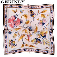 55*55cm Bandana 100% Silk Scarf Women Floral Leaf Painting Square Satin Scarves Fashion Brand Ladies Neckerchief Shawls Hot Sale
