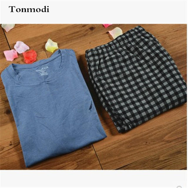 Pijamas Para Hombres ropa de Dormir de Verano de manga Corta Pantalones jersey Lounge Pajamas Set