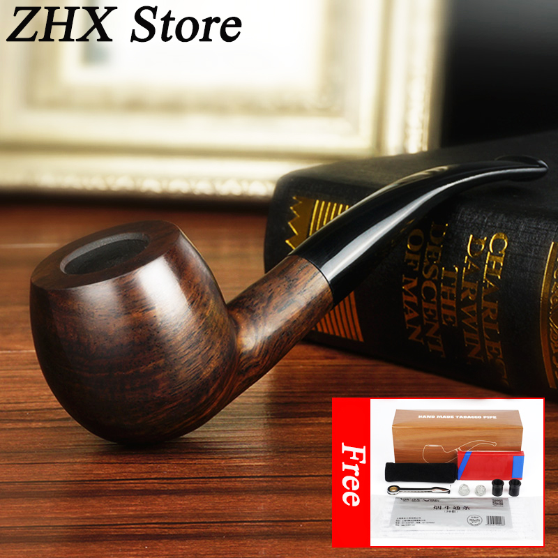 Wood Pipes for Smoking Weed Handmade Wooden Pipe Smoke Cigarettes Tobacco Filter 9 mm Active Carbon Filter Core wood