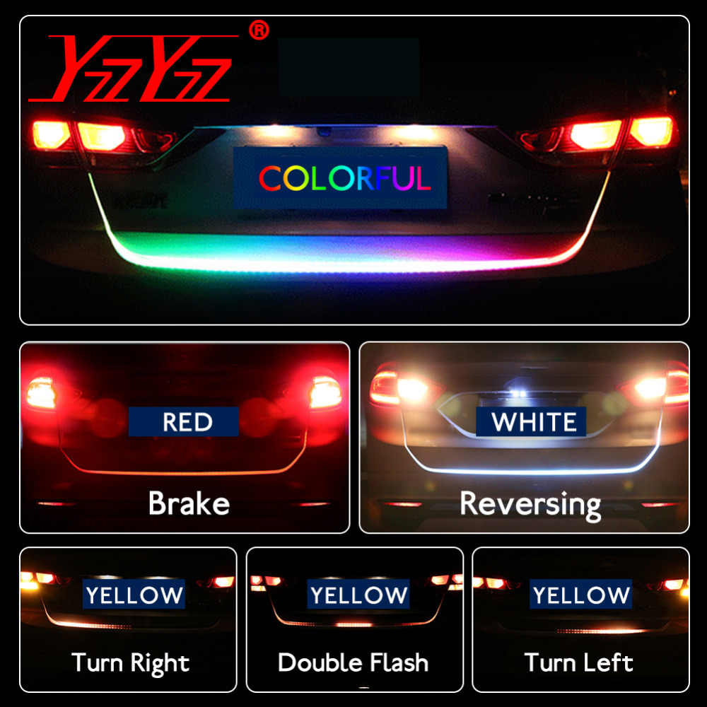 Car Styling RGB Led Trunk Luggage Strip Light LED Undercarriage Floating Dynamic Streamer Turn Signal Lamp Additional Stop Light