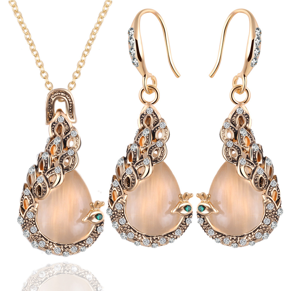 Elegant Jewelry Sets 2016 New Fashion Rose Gold Filled Pink Opal Crystal  Peacock Necklace Earring Wedding