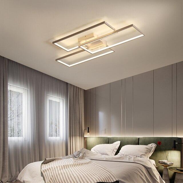 Rectangle Black/White Color Modern Led Ceiling Lights for living room bedroom 110V 220V deco Dimmable Ceiling Lamp Fixtures