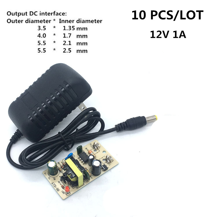 10PCS Power Adapter Supply Charger Adapter dc <font><b>12V</b></font> 1A ac 100-240V US Plug for Switch LED Strip Lamp Outer diameter 3.5/4.0/5.5mm image