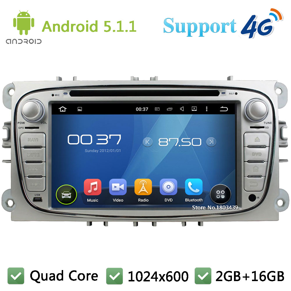 Quad Core 7″ 1024*600 Android 5.1.1 Car DVD Player Radio 4G WIFI GPS Map For Ford Focus S C MAX Galaxy Mondeo Galaxy Kuga Focus