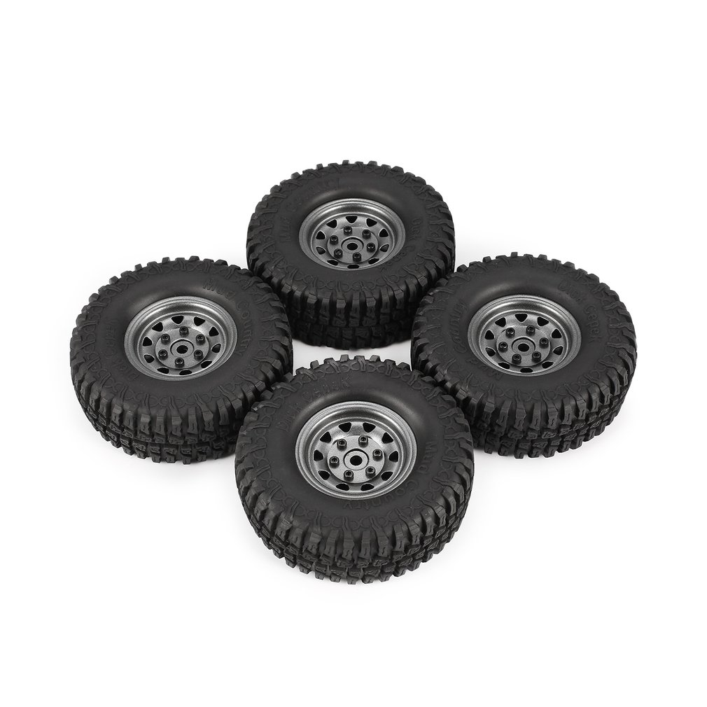4Pcs AX-3020 1.9 Inch 110mm Rubber Tires Tire with Metal Wheel Rim Set for 1/10 Traxxas TRX-4 SCX10 RC4D90 RC Crawler Car Hobby mxfans rc 1 10 2 2 crawler car inflatable tires black alloy beadlock pack of 4