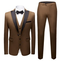 Male Blazers Slim Fit Suits (Jacket+Vest+Pants)3 Peices High Quality Formal Male Suits Wedding Groom Suit Business