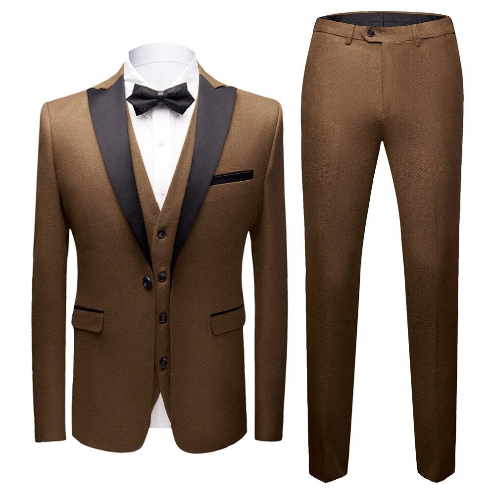 Hommes Blazers Slim Fit costumes (veste + gilet + pantalon) 3 pièces de haute qualité formelle hommes costumes mariage marié costume affaires