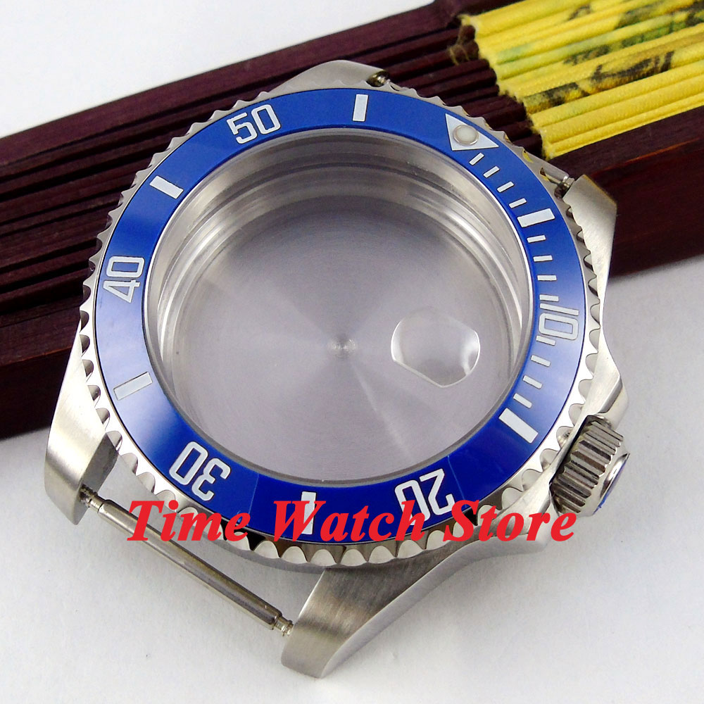 лучшая цена 43mm Sapphire glass blue ceramic bezel stainless steel Watch Case fit ETA 2824 2836 movement 46