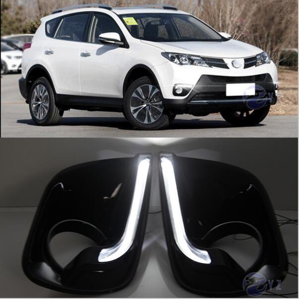 ФОТО Hireno Car DRL Waterproof ABS 12V Daytime Running Lights for Toyota RAV4 2013-15 Fog lamp 2PCS