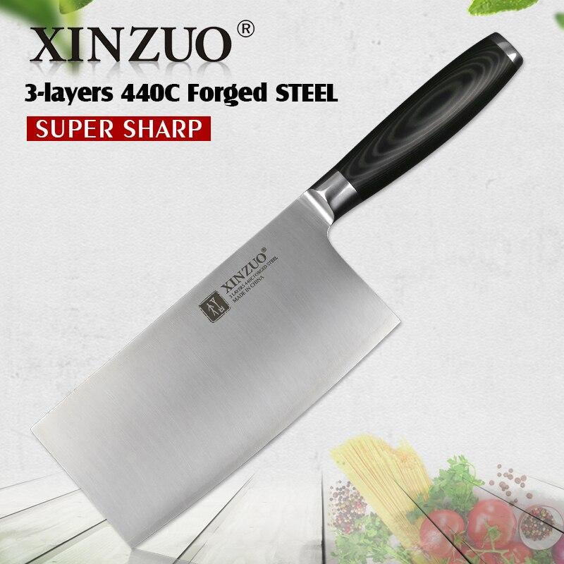 XINZUO 7 ''pouces couteau à trancher 3 couches 440C plaqué en acier inoxydable forgé couteaux de cuisine très pointu japon Chef couteau outils de cuisine