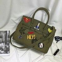 Large Capacity Badge Graiffi Platinum Bag Military Canvas Women Tote Shoulder Bag Fashion Brand Men Causal