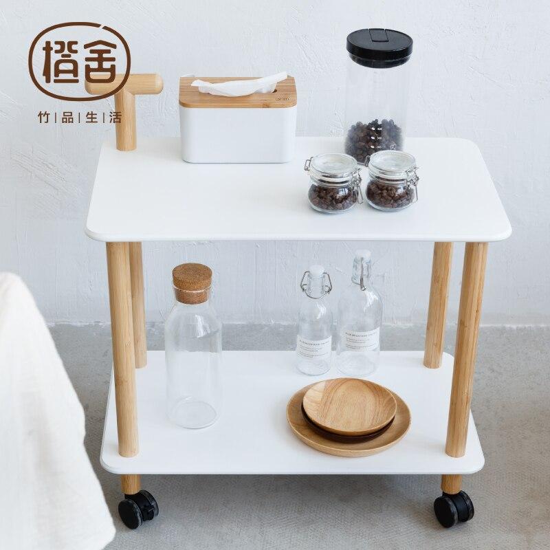 Chariot de cuisine En Bambou Table Basse Sur la Roue De Stockage Support Polyvalent Plateau Présentoir Meubles de Maison ZEN'S BAMBOU