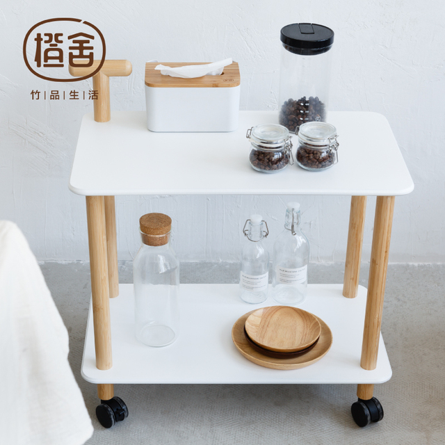 Kitchen Trolley Bamboo Coffee Table On The Wheel Storage Holder  Multipurpose Shelf Display Rack Home Furniture