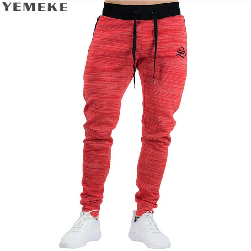 YEMEKE 2017 New Arrival MEN Sweatpants Full Length Red Green Black Grey Size M-XXL Jogginghose Fitness Wear Trainingshose