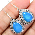 Hand Made Blue Chalcedony Earrings  100%  925 Solid Sterling Silver KE0150