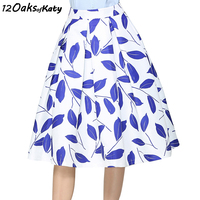 12 OAKS OF KATY Women Europe And America Women Fashion Vintage High Waist Fresh Blue Leaves