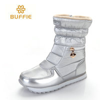 2018 New Style Women Boots Fashion Silver Winter Boots Warm Snow Boots Brand Buffie Shining Shoes