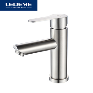 Image 5 - LEDEME Basin Faucet Stainless Steel Faucet Bathroom Mixer Tap Single Hole Hot and Cold Water Classic Basin Faucets L71003