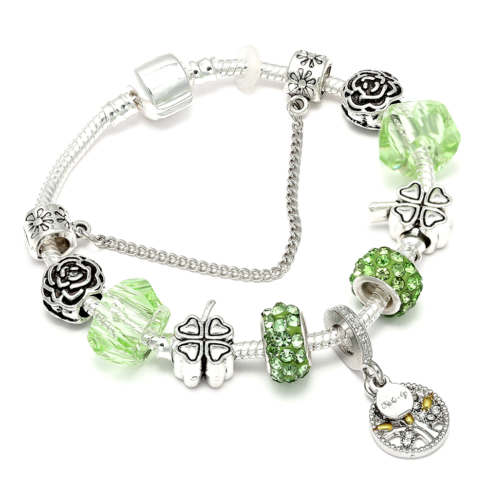 Lovely Family Tree Dangle Charm Pandora Bracelet Bangle With Clear CZ Stone-encrusted Leaves For Woman Fit Diy Jewelry Gifts