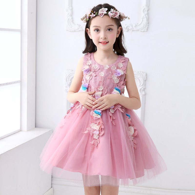 New 2018 Summer Elegant Pink Flower Princess Wedding Girls Dress Kids Baby Ball Gown Birthday Evening Prom Dresses clothes new summer multi layered prom ball evening wear girls dresses wedding princess dress girl children clothing kids clothes dress
