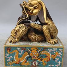 Перегородчатая Эмаль 24 К Золото Император Royalty Dragon Ball Печать Печать Штамп Скульптура