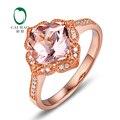 9 К Розовое Золото 2.32ct Природный Morganite & 0.14ct Алмазы Mligrain Обручальное Классический Кольцо