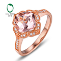 9 K Rose Gold 2.32ct Natural Morganite & 0.14ct Mligrain Diamantes Anel de Noivado Clássico