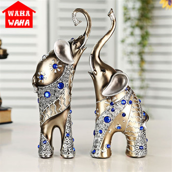 2pcs/Set Artificial Resin Elephant Crafts Mother and Child Decoration Home Living Room European Decorative Elephant Decoration