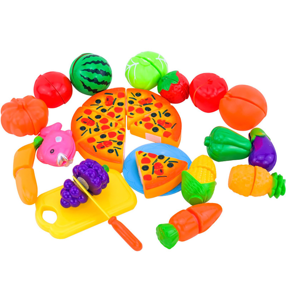 Sozzy Pretend Play Plastic 24PCS Plastic Food Toy Cutting Fruit Vegetable Food Pretend P ...
