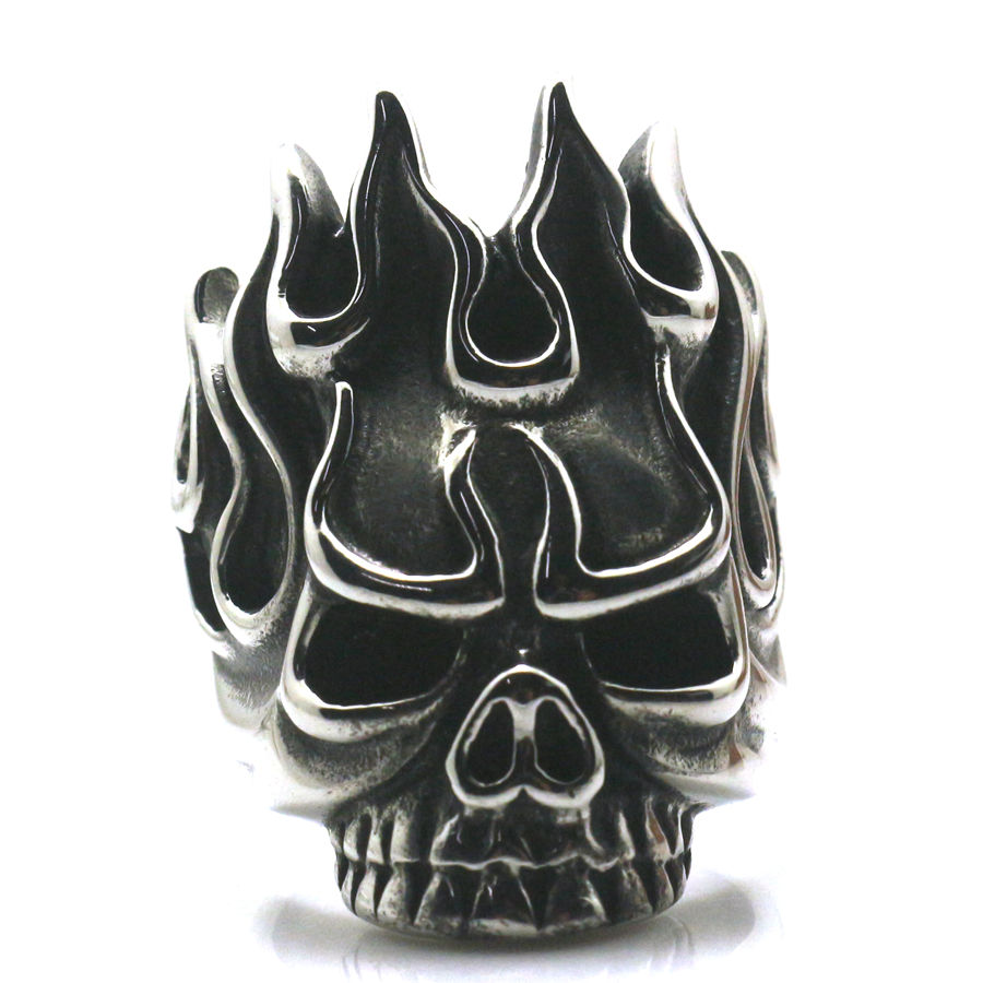 Cool Biker Rock Flame Hot Skull 316L Stainless Steel Ring Free Shipping stainless steel claw skull ring