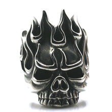 Cool Biker Rock Flame Hot Skull 316L Stainless Steel Ring Free Shipping