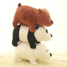 Cute 3pcs set 25cm We Bare Bears Cartoon Bear Grizzly Gray White Teddy Bear Panda Stuffed