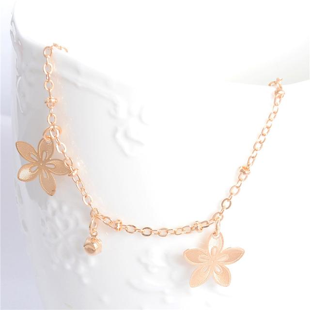 Gold Beach Flower Anklets For Women