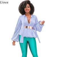 Uown Women Short Tops Blouse Elegant Lapel V Neck Lantern Long Sleeve Printed Shirts Ladies Work