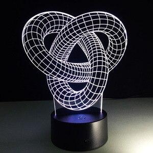 Image 4 - บทคัดย่อวงกลมเกลียวBulbing 3D LED Lightโฮโลแกรมภาพลวงตา 7 สีเปลี่ยนโคมไฟBest Night Lightของขวัญบ้านdeco