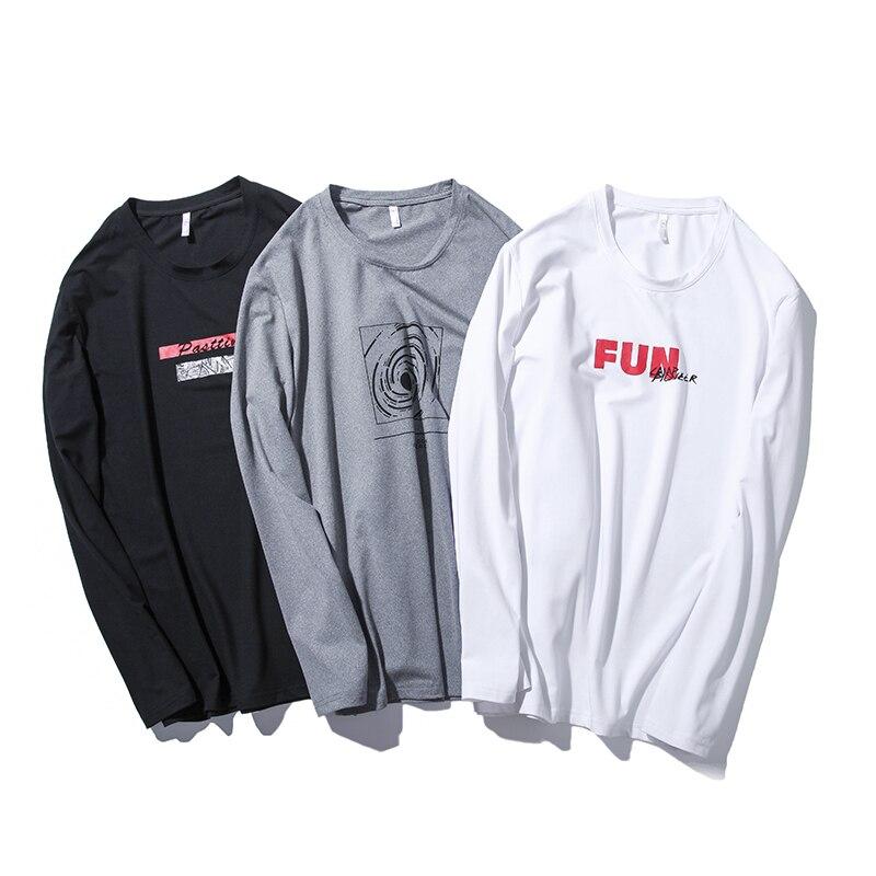 Pioneer camp paquete de 2 calidad de manga larga Camisetas de los hombres famosos marca de ropa de impresión camiseta masculina estiramiento camiseta para hombres
