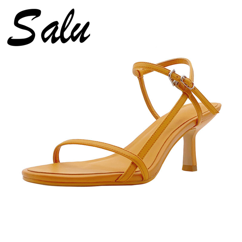 Salu 2019 New Fashion Sweet Women Sandals Genuine Leather High Heels Summer Night Club Shoes Open