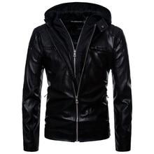 Europe/US size S-XXL Motorcycle Leather Jacket Men Newest Hooded Punk Leather