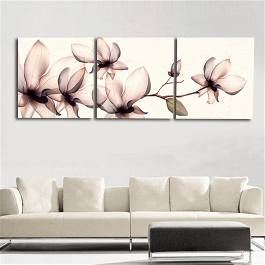 ▻3 Piece Modern Wall Canvas Printing Orchid Flower Home Decorative ...