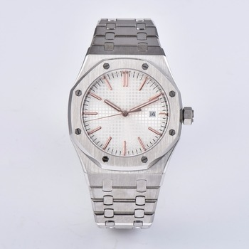 41mm watch clock sapphire crystal stainless steel watch bracelet automatic movement men's  P13