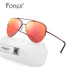 FONEX HOT High Quality Aviation Sunglasses Women Brand Designer Nylon Lens Rays Protection Titanium Alloy Sun Glasses for Men